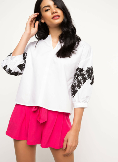 DeFacto Dantelli Bluz Beyaz